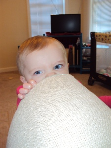 The couch makes a good impromptu teething ring.