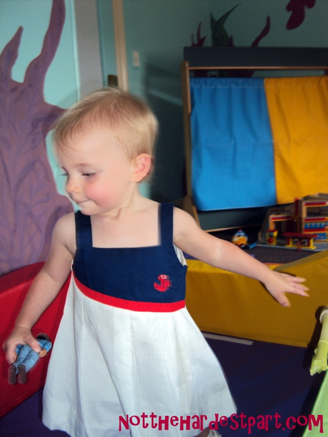 Wee Cee modeling my own sailor dress from when I was a toddler. SO EXCITED for her to wear this on the Fourth of July.