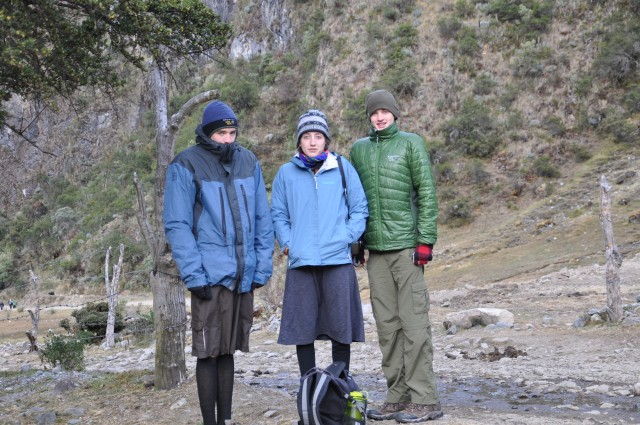 They're all grown up, and prefer not to appear in my blogs... Here they are semi-camouflaged, trekking in Peru (2012).