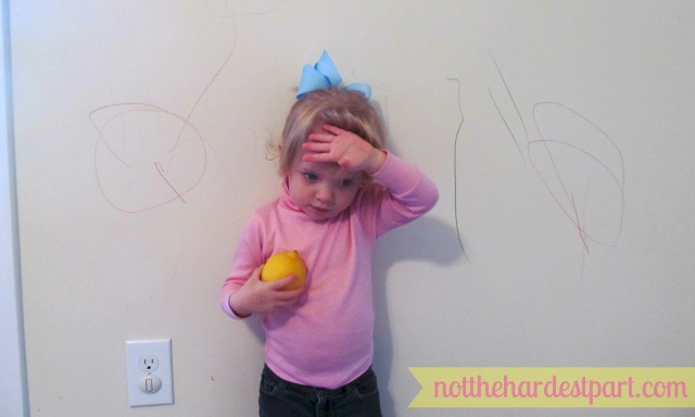 Here is the artist with her work.  And a lemon. There's a lemon too.